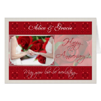 Rosas rojos de la tarjeta homosexual/lesbiana del