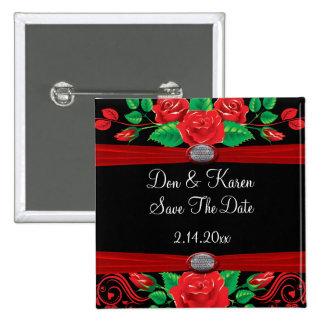 Rosas rojos de la vid en ahorrador negro de la fec pins