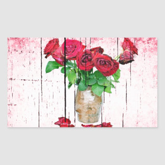 Rosas rojos de muerte pegatina rectangular