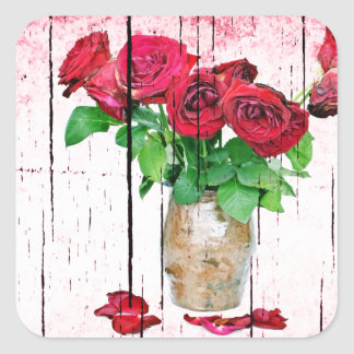 Rosas rojos de muerte pegatina cuadrada