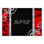 Rosas rojos de rubíes y el casarse de los invitación 8,9 x 12,7 cm