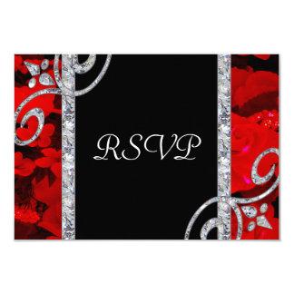 """Rosas rojos de rubíes y el casarse de los invitación 3.5"""" x 5"""""""