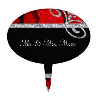 Rosas rojos de rubíes y el casarse de los remolino figuras de tarta
