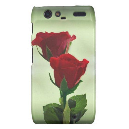 Rosas rojos del amor gemelo de la llama droid RAZR carcasa