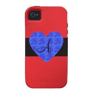 Rosas rojos del azul del monograma iPhone 4/4S carcasa