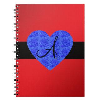 Rosas rojos del azul del monograma libreta espiral