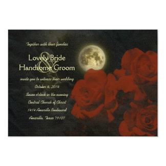 """Rosas rojos del fantasma de la Luna Llena que Invitación 5"""" X 7"""""""