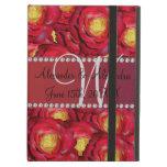 Rosas rojos del monograma del boda