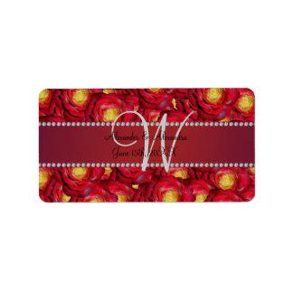 Rosas rojos del monograma del boda etiquetas de dirección