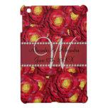 Rosas rojos del monograma del boda iPad mini cobertura