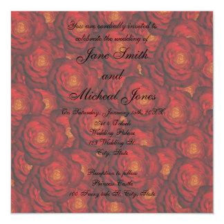 Rosas rojos del monograma del boda anuncios