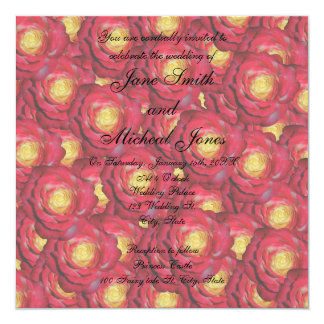 Rosas rojos del monograma del boda invitación
