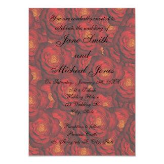 Rosas rojos del monograma del boda invitacion personal