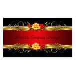 Rosas rojos del negro con clase elegante del oro tarjetas de negocios