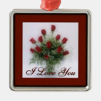 Rosas rojos del ramo romántico te amo adorno navideño cuadrado de metal