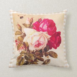 Rosas rojos del Victorian del vintage y rosados ro Almohadas