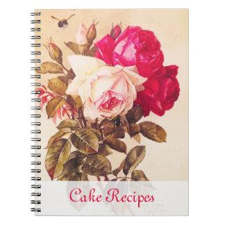 Rosas rojos del Victorian del vintage y rosados ro Spiral Notebooks