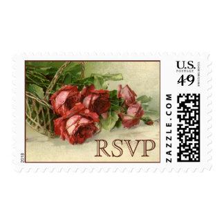 Rosas rojos del Victorian, vintage casando RSVP Sellos Postales