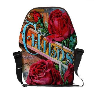 Rosas rojos del vintage bolsa de mensajeria