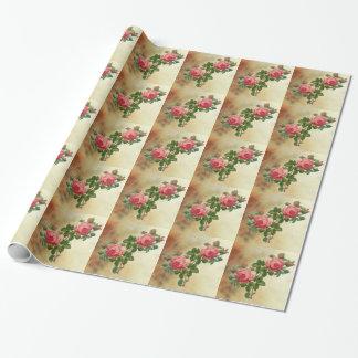 rosas rojos del vintage papel de regalo
