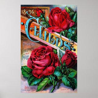 Rosas rojos del vintage póster