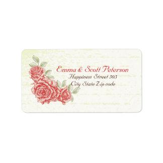 Rosas rojos del vintage que casan la etiqueta del  etiquetas de dirección