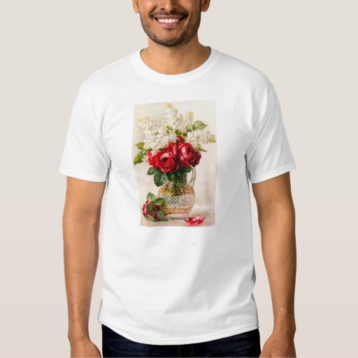 Rosas rojos del vintage y la respiración del bebé playeras
