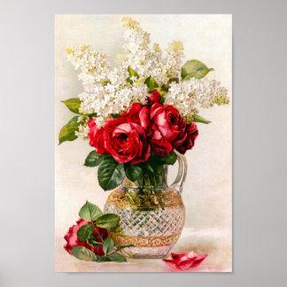 Rosas rojos del vintage y la respiración del bebé póster