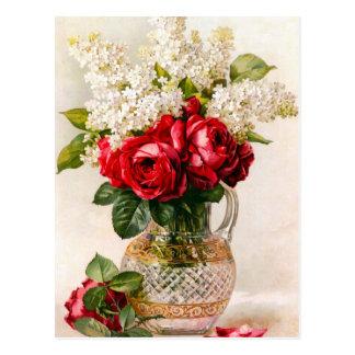 Rosas rojos del vintage y postal de la respiración