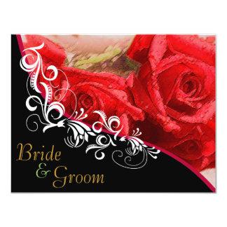 """Rosas rojos - el casarse echado a un lado 2 planos invitación 4.25"""" x 5.5"""""""