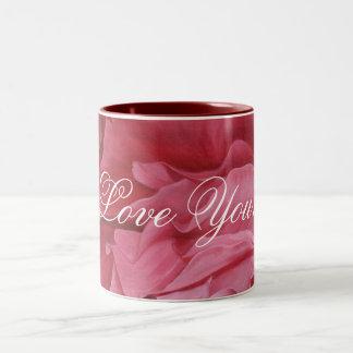 Rosas rojos elegantes románticos del amor taza de dos tonos