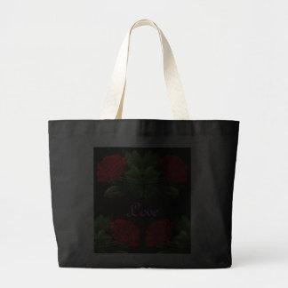 Rosas rojos en diseño abstracto floral del terciop bolsa de mano