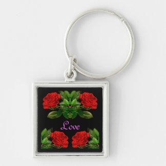 Rosas rojos en diseño abstracto floral del terciop llavero cuadrado plateado