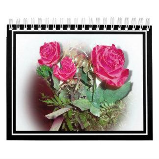 Rosas rojos en el fondo blanco calendarios de pared