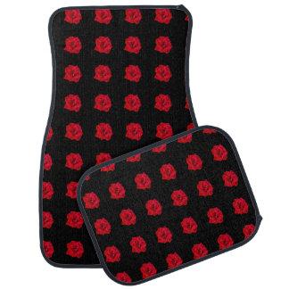 Rosas rojos en negro alfombrilla de auto
