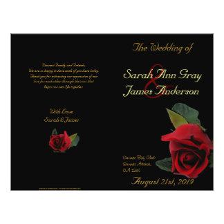 Rosas rojos en programa negro del boda tarjetas informativas