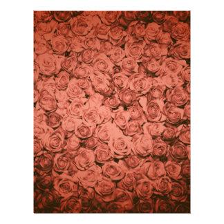 Rosas rojos femeninos llevados vintage de la mater membrete personalizado