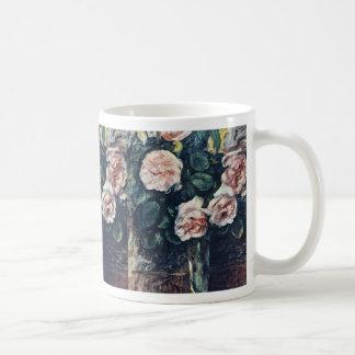 Rosas rojos flores de Auguste Renoir Tazas