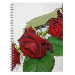 Rosas rojos libros de apuntes con espiral