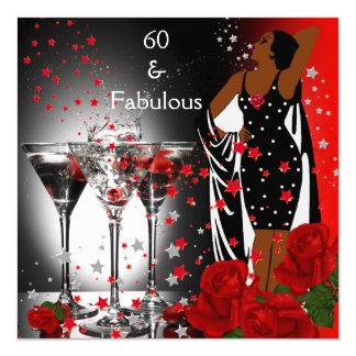 """Rosas rojos Martini del 60.o cumpleaños fabuloso Invitación 5.25"""" X 5.25"""""""