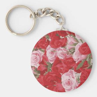 Rosas rojos para el Thalia Llavero Redondo Tipo Pin