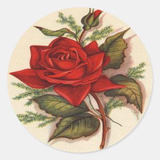 Rosas rojos pegatina redonda