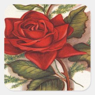 Rosas rojos pegatina cuadrada