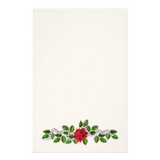 Rosas rojos, perlas y efectos de escritorio de las papeleria personalizada