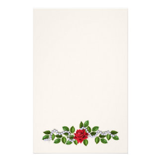 Rosas rojos, perlas y efectos de escritorio de las papelería personalizada