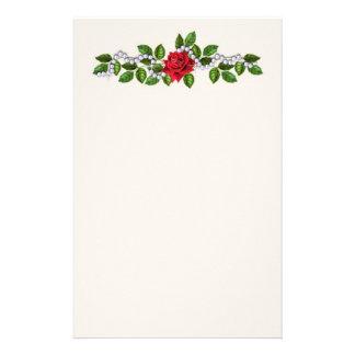 Rosas rojos, perlas y efectos de escritorio de las personalized stationery