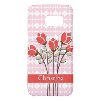 Rosas rojos personalizados en corazones rosados fundas samsung galaxy s7