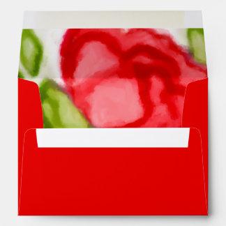 Rosas rojos pintados de la acuarela sobres
