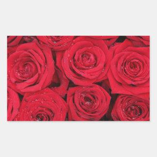 Rosas rojos por Therosegarden Pegatina Rectangular
