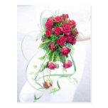 Rosas rojos que casan el ramo tarjetas postales